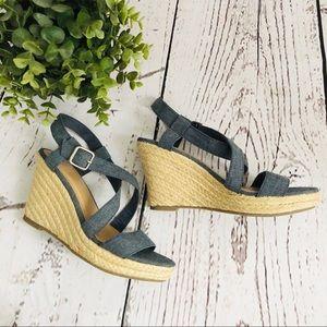 🆕 NWOT GAP Denim Jute Sandal Wedge SZ 8 Blue
